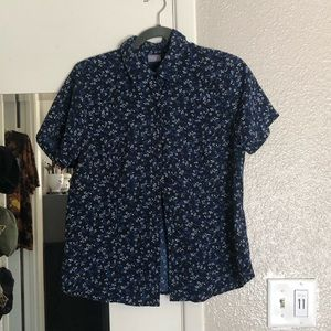 Short Sleeve Button Down Floral Top